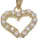 18K Yellow Gold Plated Solid Sterling Silver CZ Heart Pendant