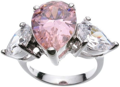 Rhodium plated Jessica Simpson Pink CZ Wedding Ring (any size)