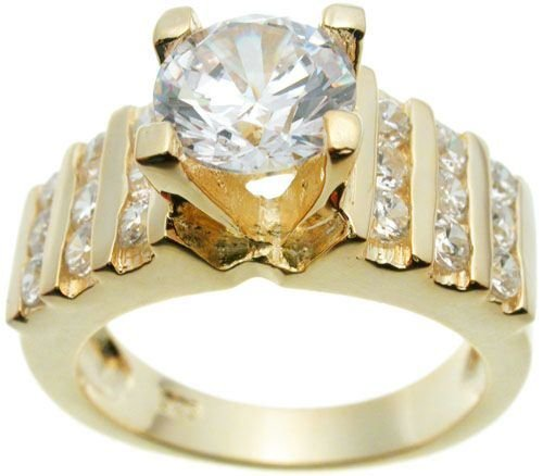 18K Yellow Gold Plated Solitaire Wedding Ring (any size)