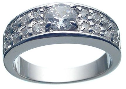 Rhodium Plated CZ Wedding Ring (any size)