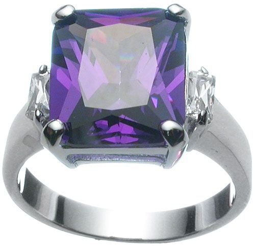 Rhodium Plated Sterling Silver Amethyst Jlo Wedding Ring (any size)
