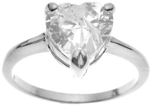 Halle's Rhodium Plated Tiffany Solitaire 2 ct Heart CZ Sterling Silver Engagement Ring (any size)