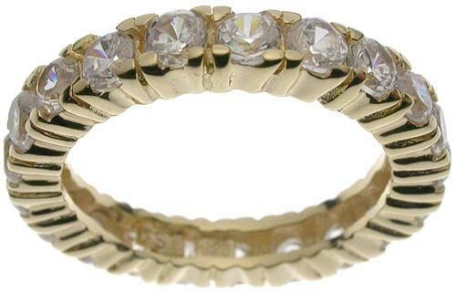 18K Yellow Gold Plated Sterling Silver Eternity CZ Jessica Simpson Band (any size)