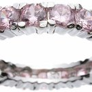 Rhodium Plated Sterling Silver Eternity Pink CZ Jessica Simpson Band (any size)