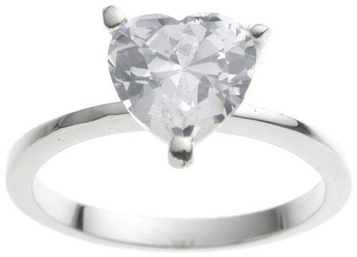 18K White Gold Plated Tiffany Solitaire 2 ct Heart CZ Engagement Ring (any size)