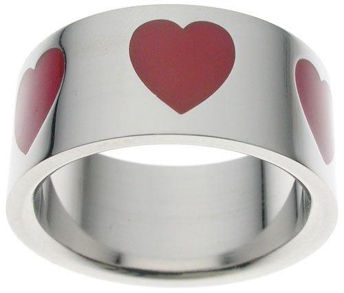 High Polish Steel Poker Red Enamel Heart Ring (any size)