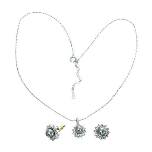 18K White Gold Plated Black Pearl Genuine Swarovski Crystal Necklace and Earrings Set