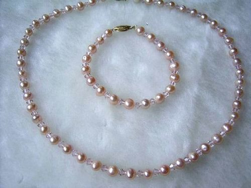 6-7mm Genuine Pink Pearl Necklace Bracelet Set