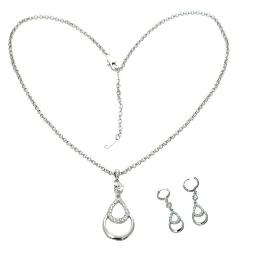 18K White Gold Plated Genuine Swarovski Crystal Double Tear Drop Necklace and Earrings Set