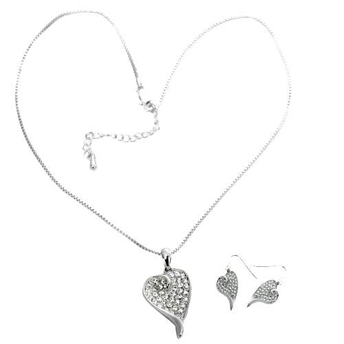 Rhodium Plated Genuine Swarovski Crystal Heart Necklace and Earrings Set