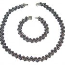 Genuine Black Pearl Latice Necklace and Bracelet Set