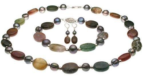 Genuine India Agate Black Baroque Pearl Sets