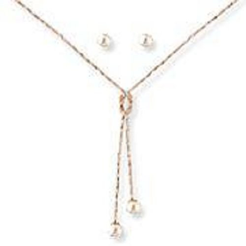 18K Solid Gold Laminated Copper String Pearl Necklace Earring Set