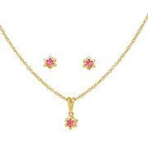 Solid 18K Gold Laminated Copper Red Star Necklace Earrings Set