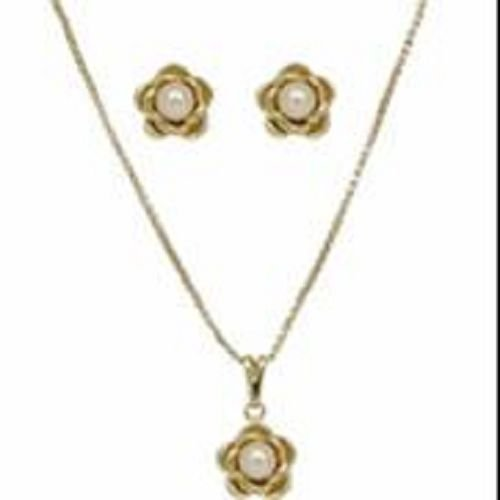 18K Solid Gold Laminated Copper Center Pearl Flower Necklace Earring Set