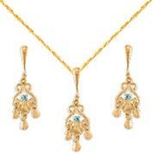 Solid 18K Gold Laminated Copper Drippy Necklace Earrings Set