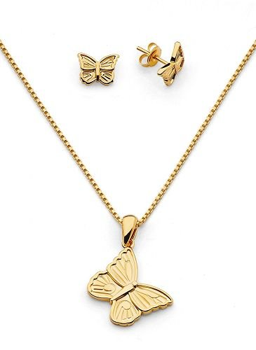 Solid 18K Gold Laminated Copper Butterfly Necklace Set