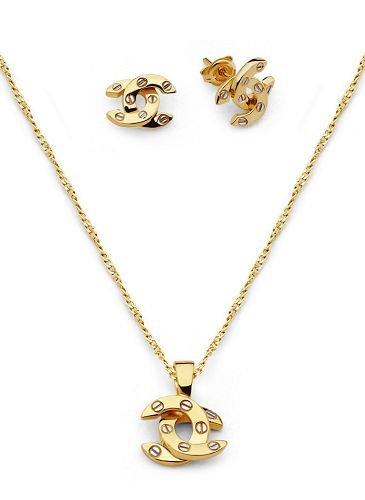 18K Solid Gold Laminated Copper Horseshoe Screw Earring Necklace Set.