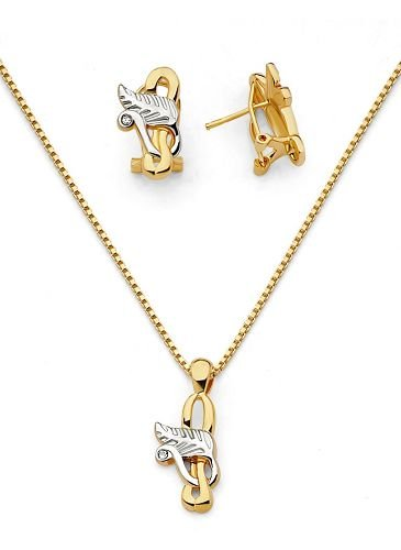 18K Solid Gold Laminated Twisted Leaf CZ Necklace Earring Set