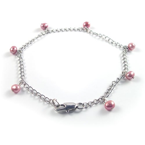 Genuine Red Pearl Silver Anklet