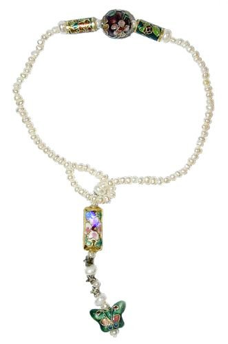 Genuine Pearl Butterfly Cloisonne Anklet