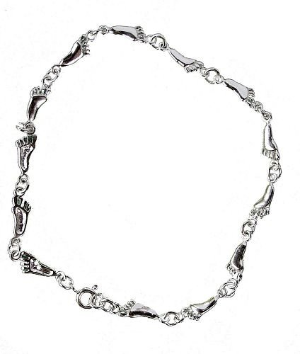 Solid Sterling Silver Foot Linking Anklet