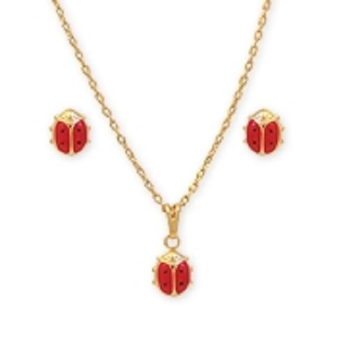 Solid 18K Gold Laminated Copper Lady Bug Necklace Set