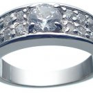 Rhodium Plated Solid Sterling Silver CZ Wedding Ring ( any size)