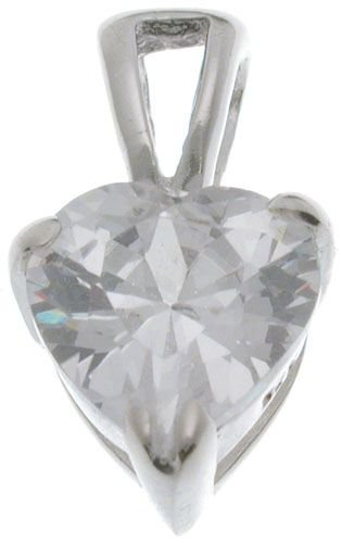 18K White Gold Plated Sterling Silver 7mm CZ April Birthstone Pendant