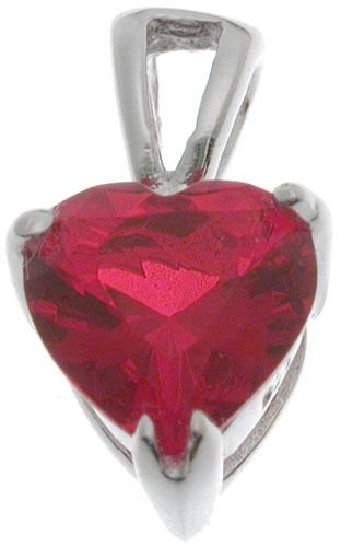 18K White Gold Plated Sterling Silver 7mm CZ July Birthstone Pendant