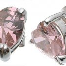 Halle's Rohdium Plated Tiffany Solitaire 2 ct Heart Pink CZ Earrings