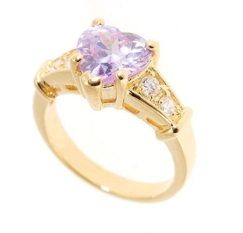 18k yellow Gold plated Tanzanite created Heart ring (any size)