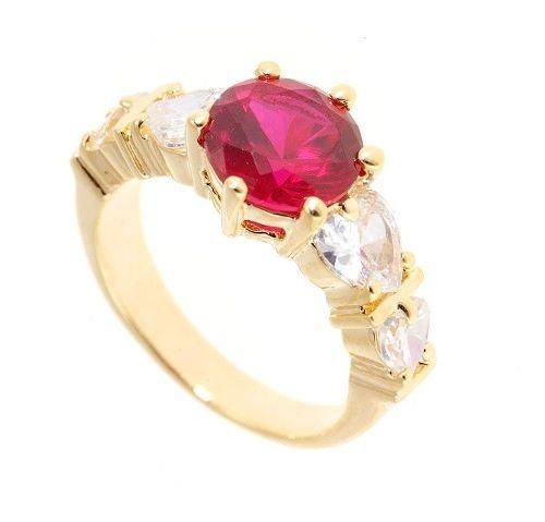 18k Gold plated 4 created heart diamonds & ruby ring (any size)