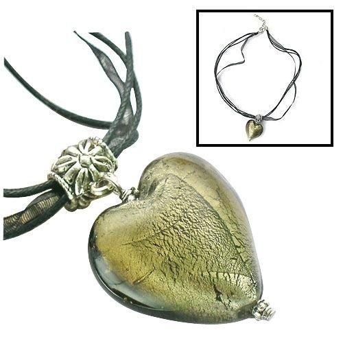 Handmade Necklace with Murano Glass Heart Pendant ZZ