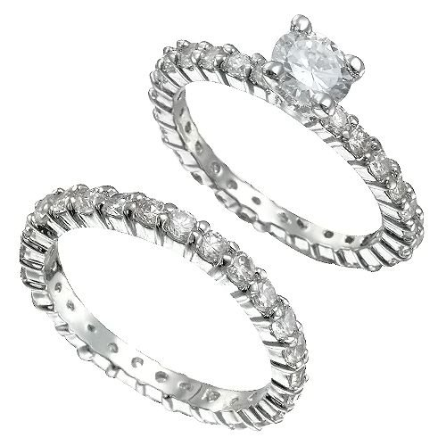 Rhodium Plated Brilliant CZ Bridal Ring Set(any size)