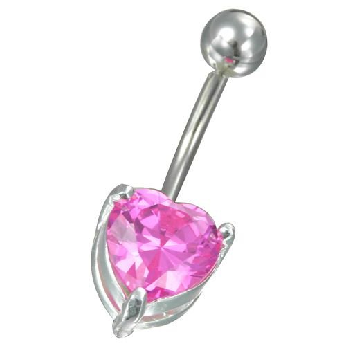 316 Stainless Steel Banana Belly Ring with Solitaire Pink HEART CZ Stone