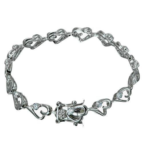 Rhodium Plated Heart Link CZ Bracelet