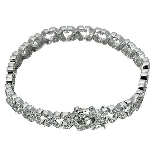 Rhodium Plated X's Link CZ Bracelet