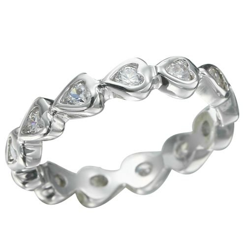Rhodium Plated Hearts Brilliant Clear CZ Ring (any size)