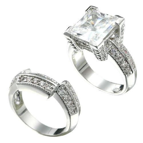 Rhodium Plated Princess Cut CZ Bridal Ring Set (any size)