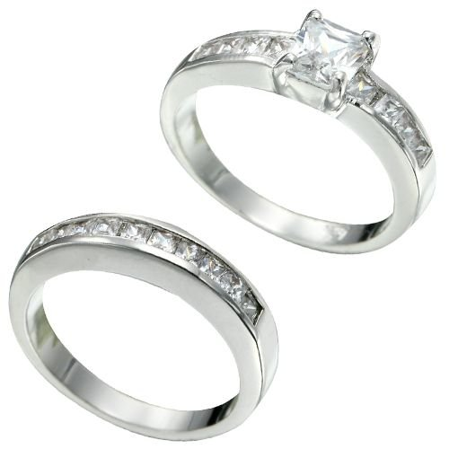 Rhodium Plated Princess Cut CZ Bridal Ring Set (any size)