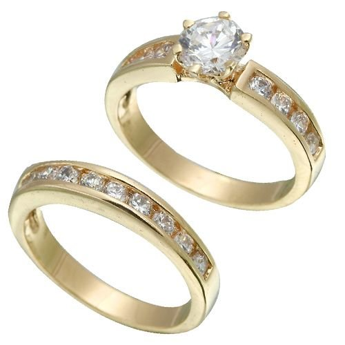Yellow Gold Plated Brilliant CZ Bridal Ring Set (any size)