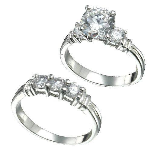 Rhodium Plated Brilliant CZ Bridal Ring Set (any size)