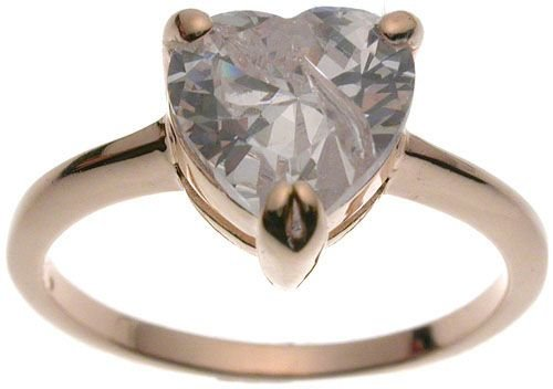 Halle's Rose Gold Plated Tiffany Solitaire 2 ct Heart CZ Engagement Ring (any size)