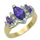 18k 2 Tone Gold 3 Pear Shaped Amethyst CZ Ring w/ accent CZs (any size)