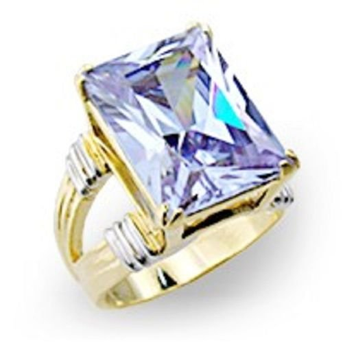 18k 2 Tone Gold 8 ct Princess cut Amethyst CZ Ring (any size)