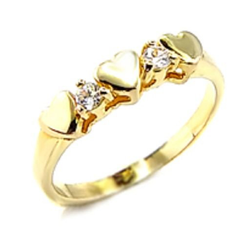 Yellow Gold Plated 2 Heart Diamond CZ Ring (any size)