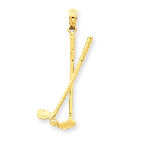 14K GOLD TWO GOLF CLUBS WITH BALL IN 3-D PENDANT