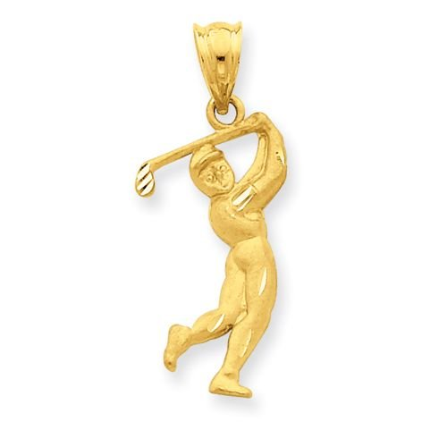 14K SOLID GOLD MALE GOLFER CHARM OR PENDANT