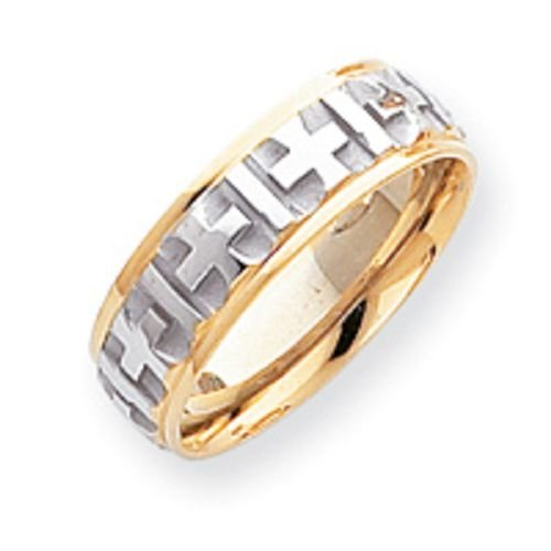14K Gold Two Tone Cross Wedding Band
